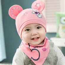 2 piece set Beanie with cute ears and Bib in Pink
