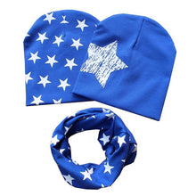 Cotton Beanie Hat and Scarf Set Boys and Girls - Blue