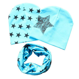 Cotton Beanie Hat and Scarf Set Boys and Girls - Slight Blue