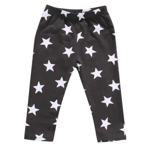 Star Printed Leggings in Gray - Grey