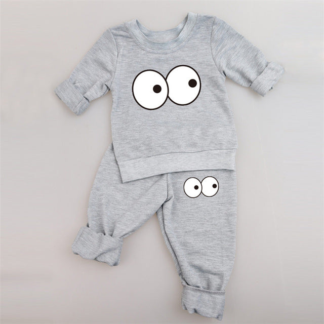Two Piece Monster Suit Set with Big Eyes in Gray - Grey