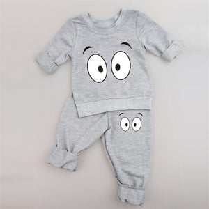 Two Piece Monster Suit Set with Cross Eyes in Gray - Grey