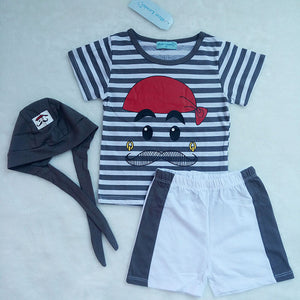 Cute Baby Boys and Girls Clothes Set 3 Pieces Hat T-Shirt & Pants in Blue