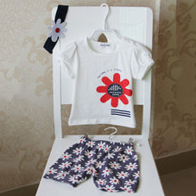 Cute Baby Boys and Girls Clothes Set 3 Pieces Hat T-Shirt & Pants in White