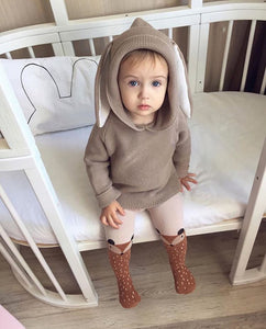 Bunny Ears Hooded Sweater For Toddlers in Khaki