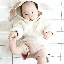Bunny Ears Hooded Sweater For Toddlers in White