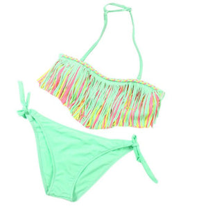 Two-Piece Bikini Set For Young Girls with Tassels in Green