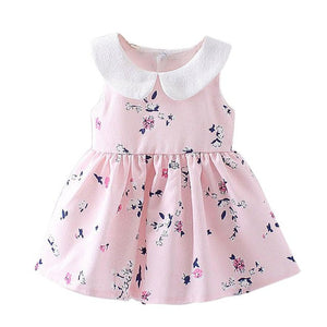 Beautiful Girls Pink Floral Printed Summer Party Dress