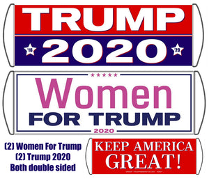 Women for Trump and Trump 2020 Scrolling Hand Banner (4 Pack)