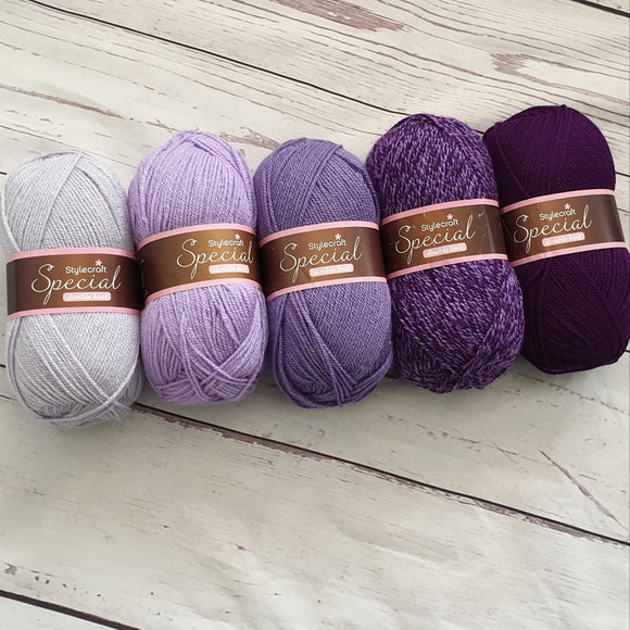 stylecraft special dk - purple ombre yarn pack