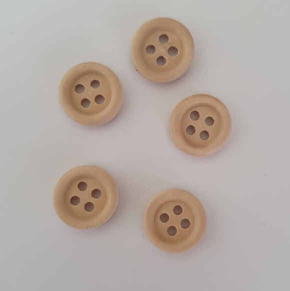 light wooden 4 hole 15mm buttons