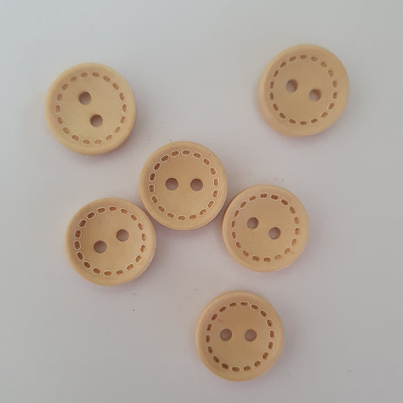 light wooden 2 hole 15mm buttons