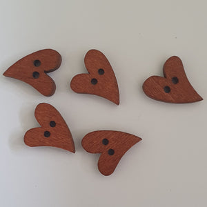 dark wood heart buttons