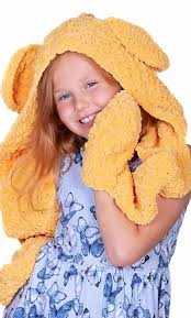 Cygnet Chenille Chunky Childs Honeydew Hooded Scarf with Pockets Crochet Pattern