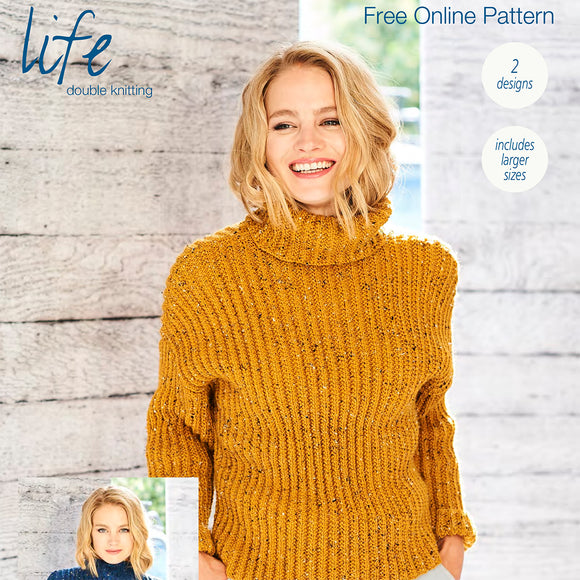 Stylecraft Jumpers in Life DK Tweed Knitting Pattern