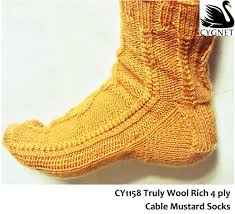 Truly Wool Rich 4 ply Cable Mustard Socks Knitting Pattern
