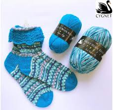 Cygnet Truly Wool Rich 4 ply and Prints Lace Cuff Socks pattern