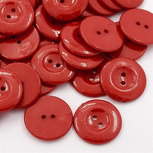 red plastic 25mm buttons