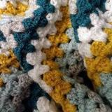 Stylecraft Special DK - Teal and Mustard crochet blanket