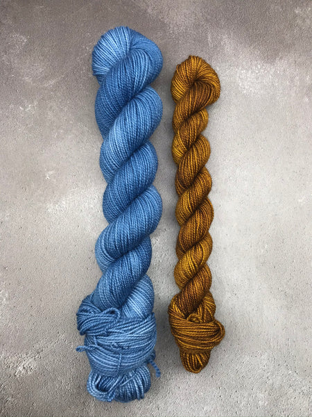 Blue Jeans and Cinder Toffee Merino Twist Sock 70g Set