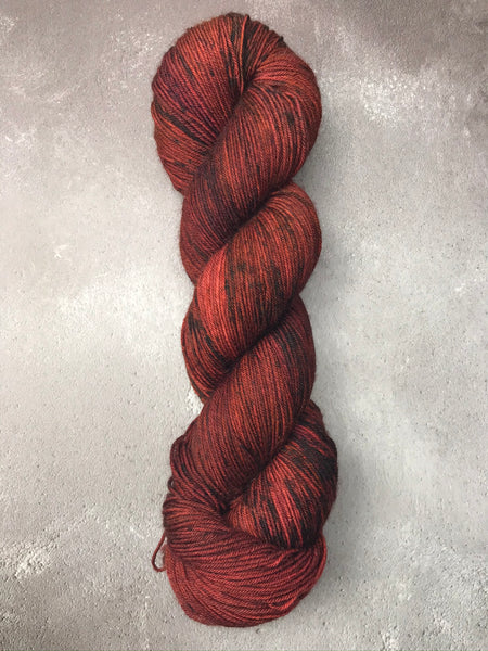 Oddball #119 - Deep Rust Red with Speckles Merino Smooth Sock