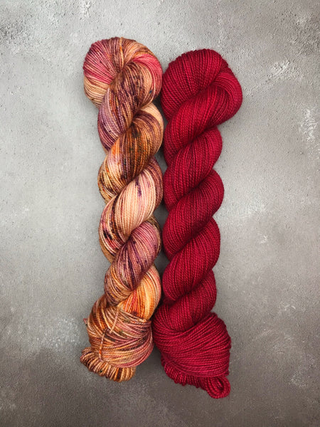 OOAK Ruby Slippers & Speckles Merino Twist Sock 100g Set