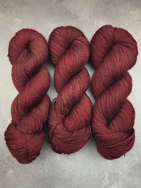Oddball #151 Raisin Red Corriedale Sock