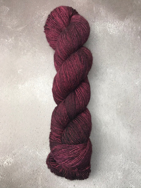 Oddball #147 Dark Plum Red Merino Singles Fingering
