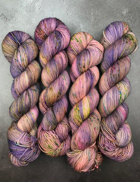 Oddball #165 Pastel Pink & Purple Speckled BFL Sock