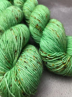 Oddball #117 Bright Mint Green Speckles Merino Singles Fingering