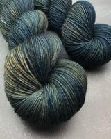 Oddball #175 Dark Teal Blue & Brown Merino Smooth Sock