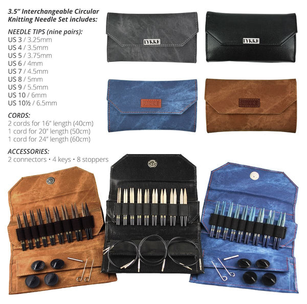 "Lykke Black Faux Leather  3.5"" Interchangeable Needle Set"