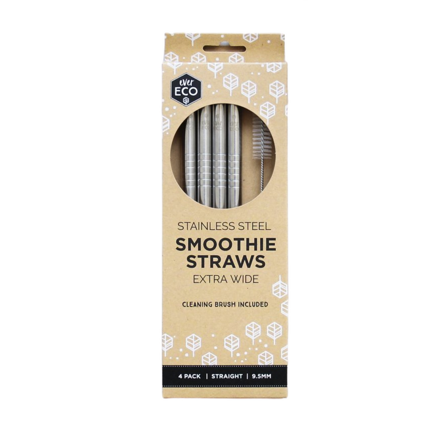 Ever Eco - Stainless Steel Smoothie Straws (4 Pack - Straight)