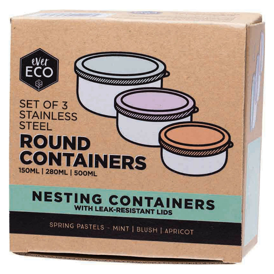 Ever Eco - Stainless Steel Round Containers (150 ml x 280 ml x 500 ml)