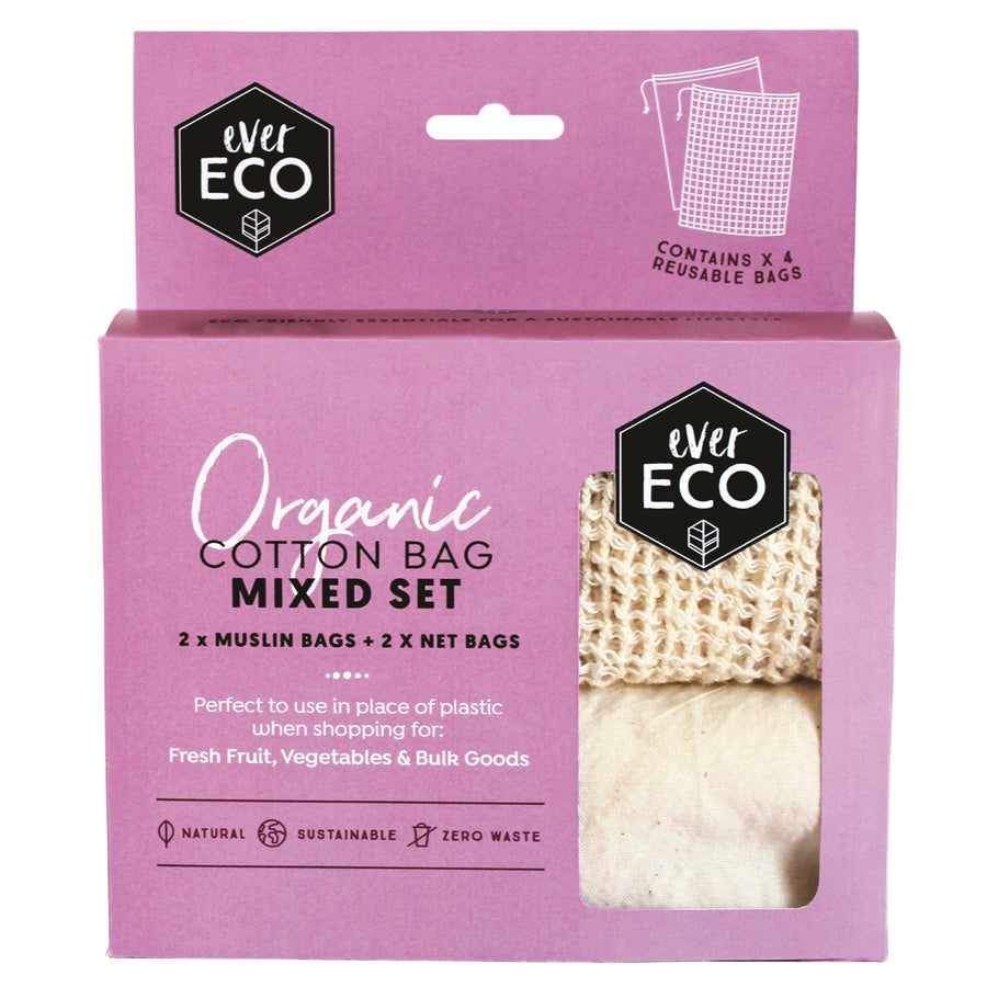 Ever Eco - Organic Cotton Produce Bags (Mixed Set 4 Pack)