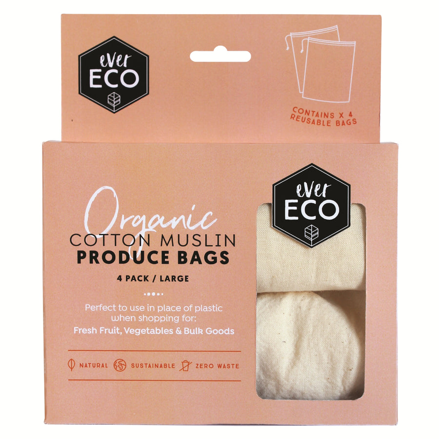 Ever Eco - Organic Cotton Muslin Produce Bags (4 Pack)