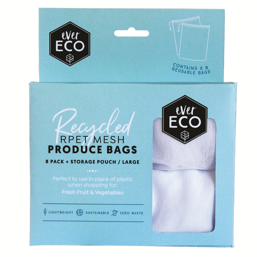 Ever Eco - Reusable Produce Bags RPET Mesh 8 Pack + Storage Pouch