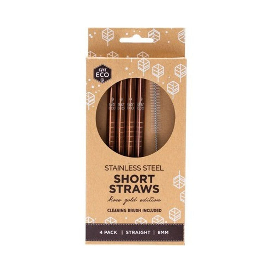 Ever Eco - Rose Gold Short Straws (4 Pack - Straight)