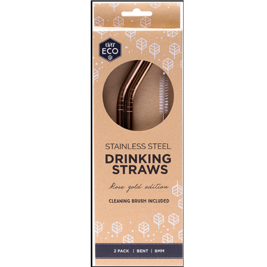 Ever Eco - Rose Gold Straws (2 Pack - Bent)