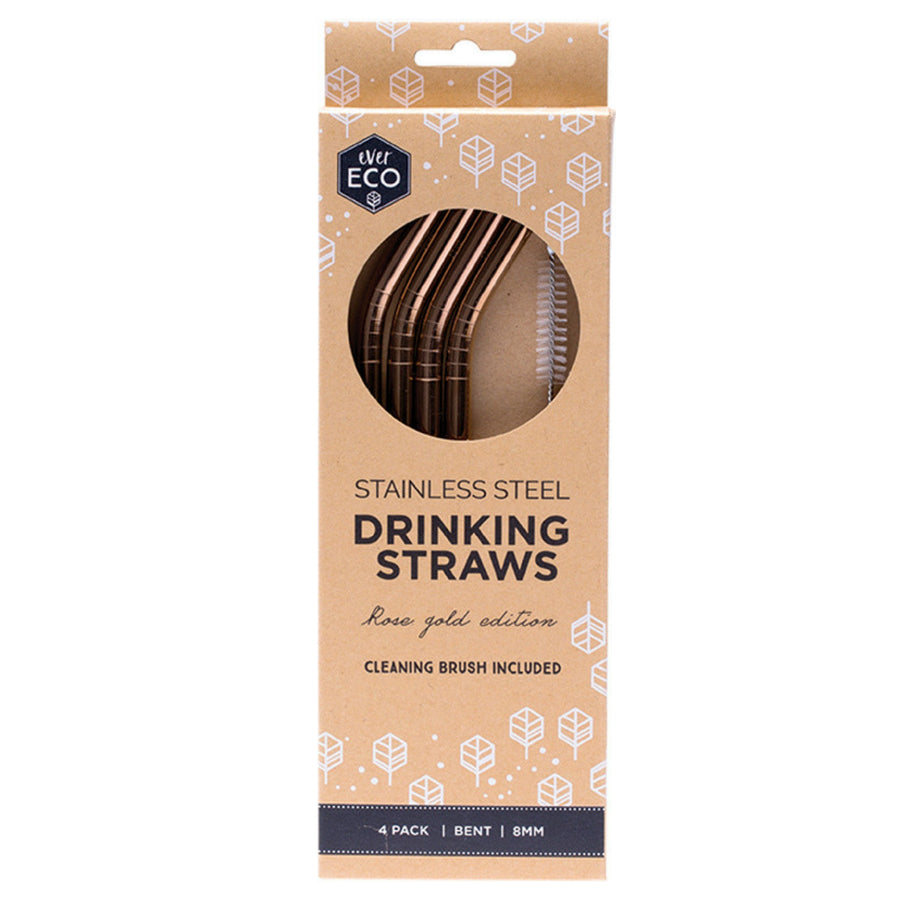 Ever Eco - Rose Gold Straws (4 Pack - Bent)