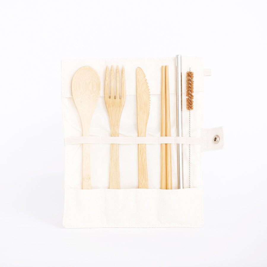 Go for Zero - Bamboo Cutlery Travel Pouch (7 Pieces)
