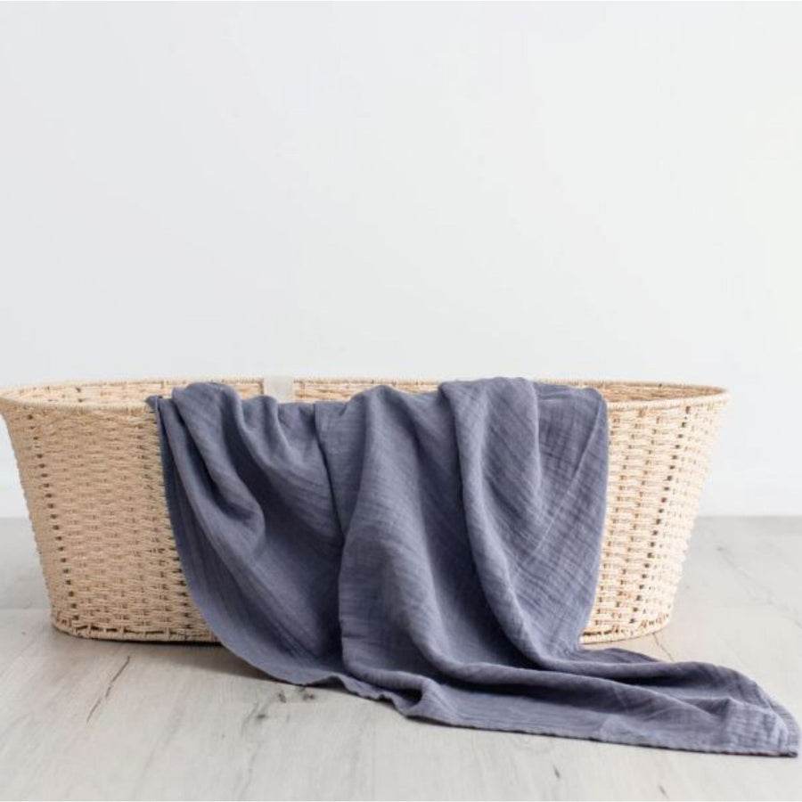 Love & Lee - Organic Cotton Muslin Swaddle Wrap - Stormy Blue (120 x 120cm)