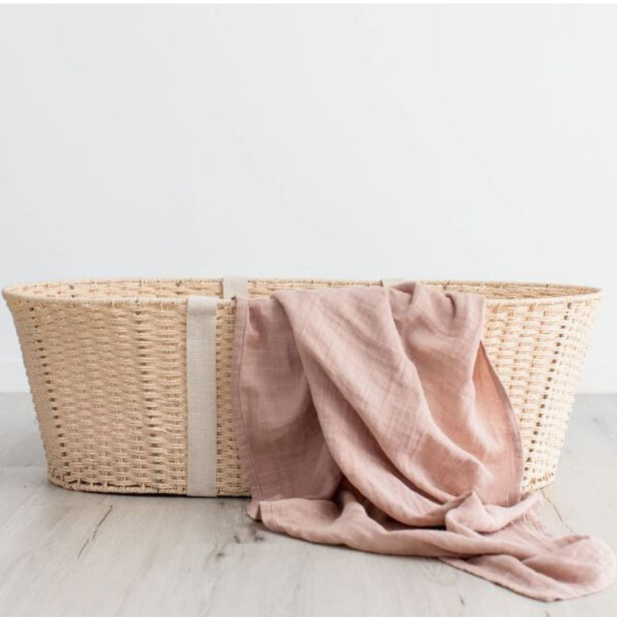 Love & Lee - Organic Cotton Muslin Swaddle Wrap - Dusty Pink (120 x 120cm)