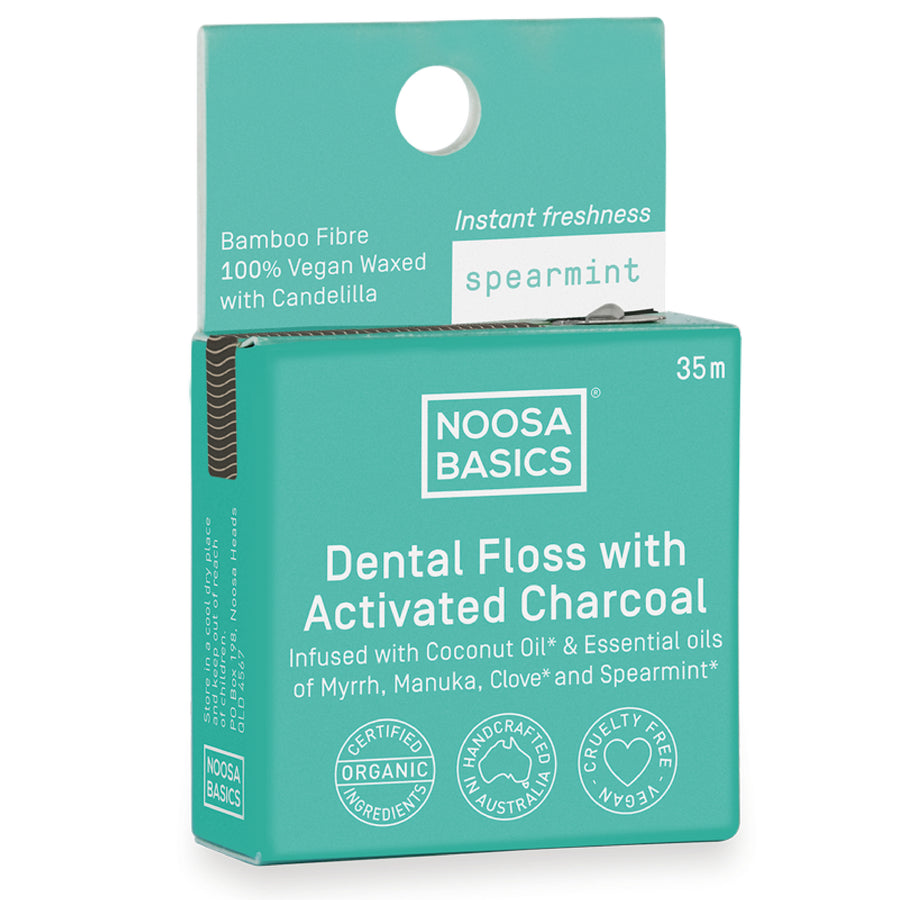 Noosa Basics - Spearmint Dental Floss with Activated Charcoal (35 m)