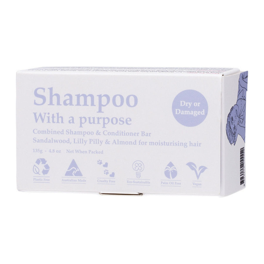 Shampoo with a Purpose – DRY OR DAMAGED Shampoo & Conditioner Bar (135g)