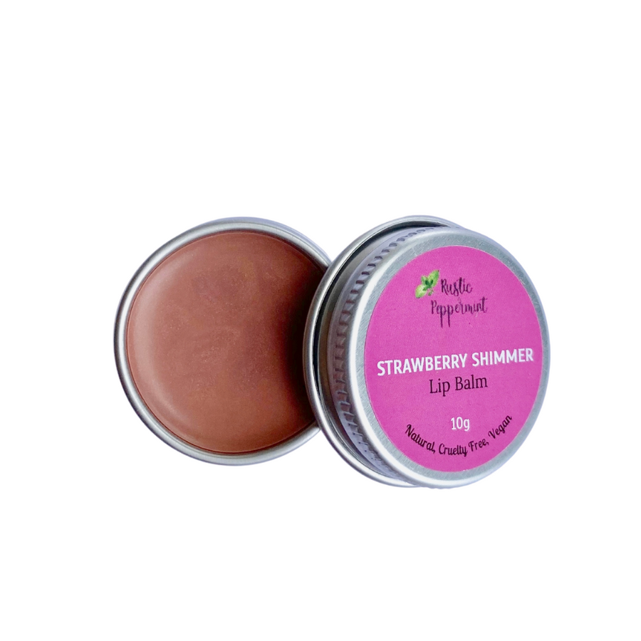 Rustic Peppermint - Strawberry Shimmer Natural Flavoured Lip Balm (10g)