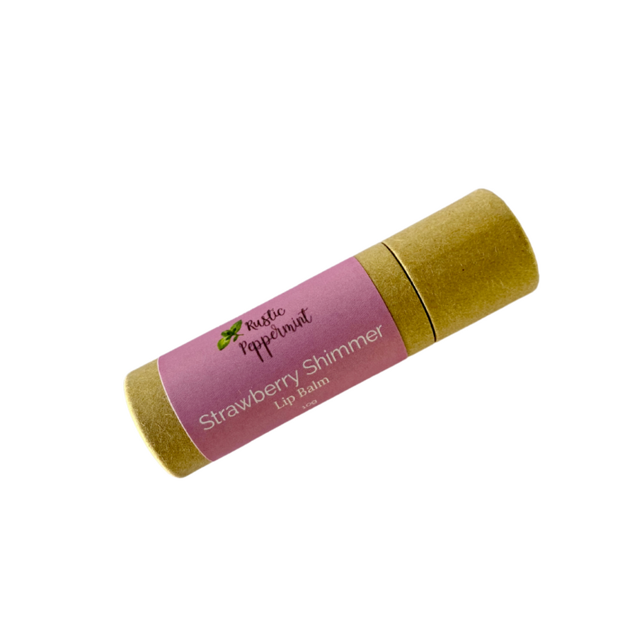 Rustic Peppermint - Vegan Natural Flavoured Lip Balm (Strawberry Shimmer - 10g)