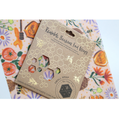 Go-For-Zero-Australia-Bee-Green-Wraps-Australia-Small-Reusable-Beeswax-Food-Wrap-Bees-And-Flowers