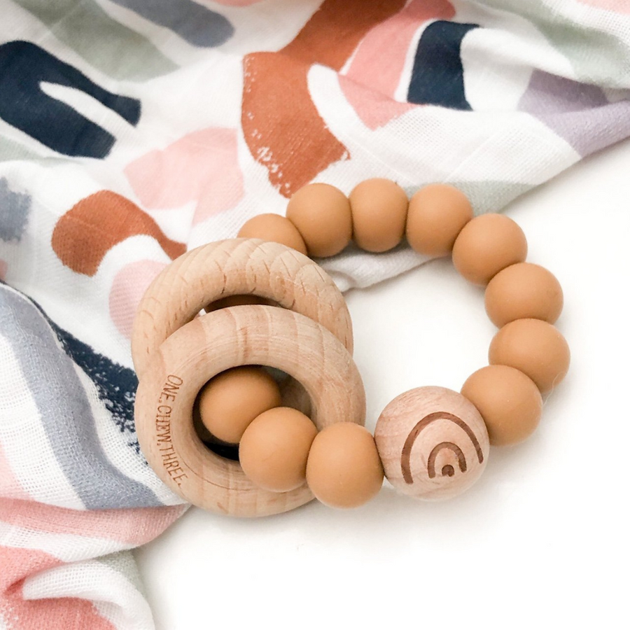 One Chew Three - Silicone and Beech Wood Rattle with Element (4 colours)