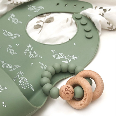 Go-For-Zero-Australia-One-Chew-Three-Australia-Silicone-Catch-Bib-Silicone-And-Beech-Wood-Teether-Pack-Sage-Foliage-Elements
